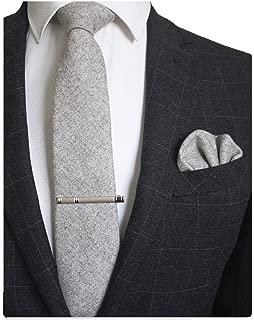 Solid Color Cashmere Wool Necktie and Pocket Square Tie Clip Sets for Men