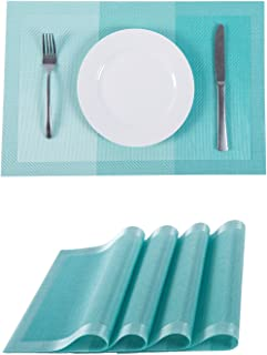 Placemats,Placemats for Dining Table,Heat-Resistant Placemats, Washable PVC Table Mats,Kitchen Table mats.Set of 4