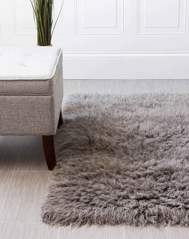Super NEW before selling ☆ Area Rugs Organic Wool Greek Flokati 5' San Diego Mall x 3' Rug Gray