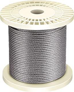 Favordrory 1/8 Inch T316 Marin Grade Stainless Steel Aircraft Wire Rope Cable for Railing, Decking, DIY Balustrade, 7x7 Construction, 150 Feet