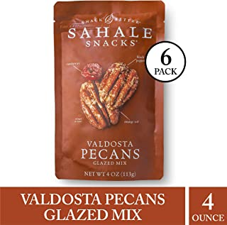 Sahale Snacks Valdosta Pecans Glazed Mix - Nut Snacks in a Resealable Pouch, No Artificial Flavors, Preservatives or Colors, Gluten-Free Snacks, 4 Ounce (Pack of 6)