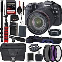 Canon EOS RP Mirrorless Digital Camera with 24-105mm Lens Accessory Bundle – Canon EG-E1 Extension Grip (Blue) + Canon Mount Adapter EF-EOS R + Extreme Pro 64GB Memory Cards + More