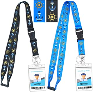 Cruise Lanyard with ID Key Card Breakaway Safety Lanyards with Badges Holders Essential Cruise Ship Accessories 2 Pack (Black&Blue1 + Anchor Helm, 2 Pack)