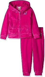 Juicy Couture 学步幼童女 天鹅绒连帽外套和裤子套装,Hot Pink, 3T