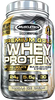 MuscleTech Premium Gold 100% Whey Protein Powder, Ultra Fast Absorbing Whey Peptides & Whey Protein Isolate, Vanilla Ice Cream, 30 Servings (2.2lbs)