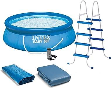 Intex 15' x 4' Inflatable Pool, Ladder, Pump and Hydrotools Chlorine Dispenser