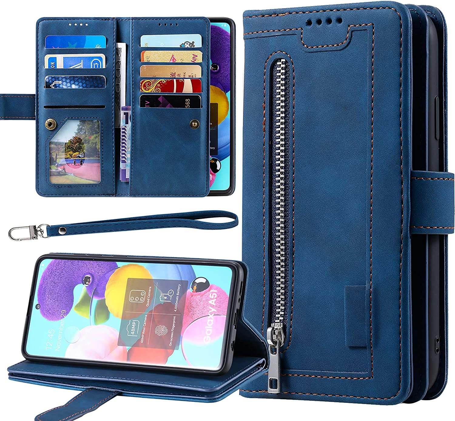 Galaxy A50 Wallet Phone Case, Harsel 9 Card Holder Premium PU Leather Wallet Women Purse Folio Flip Folding Cover Protective Shell with Lanyard Strap Wristlet and Zipper Pocket (Navy Blue)