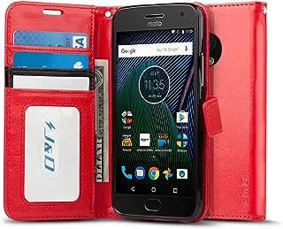 J&D Case Compatible for Moto G5 Plus Case, [Wallet Stand] [Slim Fit] Shock Resistant Flip Cover Wallet Case for Motorola Moto G5 Plus (5.2