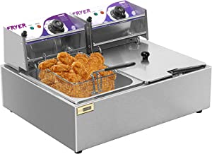 VIVOHOME Stainless Steel 17.6 Quart Large Capacity Electric Commercial Dual Tank Deep Fryer Countertop with Double Baskets and Temperature Limiter