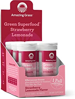 Amazing Grass Green Superfood Hydration: Effervescent Electrolyte Drink Tablets, Hydrating Electrolytes plus One serving of Greens and Veggies, Strawberry Lemonade Flavor, 60 Servings