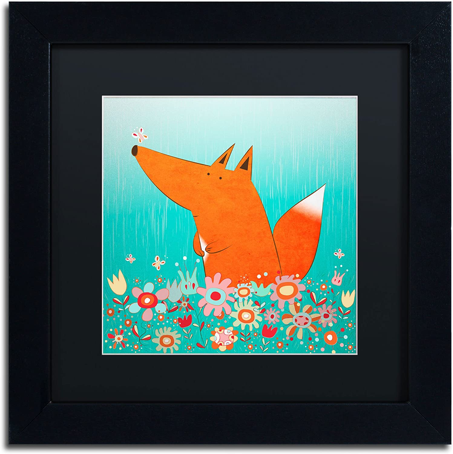 Trademark Fine Art Fox in Flowers Black Matte Artwork by Carla Martell, 11 by 11Inch, Black Frame