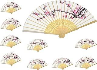 Aloddy 10 PCS Delicate Cherry Blossom Design Silk Folding Hand Fan Wedding Favors Gifts,Fan Girls, Ladies, Church Wedding Gift, Party Favors, DIY Decoration