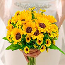 3 Bouquets of Artificial Yellow Fake Sunflowers, Each Bunch of 4 Large Flowers + 9 Small Flowers, Silk Flower Table Decora...