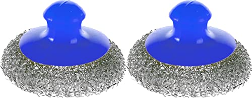 discount Stainless Steel Sponge with Handle - Set of 2 - Wool 2021 Steel Scrubber - discount Metal Dish Scouring - Blue outlet sale
