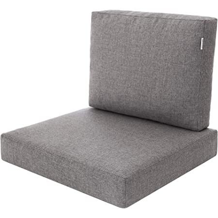 Miatech Coussin de jardin, pour chaise, fauteuil rotin, fauteuil jardin, coussin fauteuil rotin, coussin fauteuil jardin-Taille L, 60x55–Gris