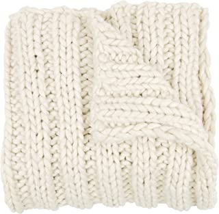 Kate and Laurel Chunky Knit Throw Blanket, Natural White