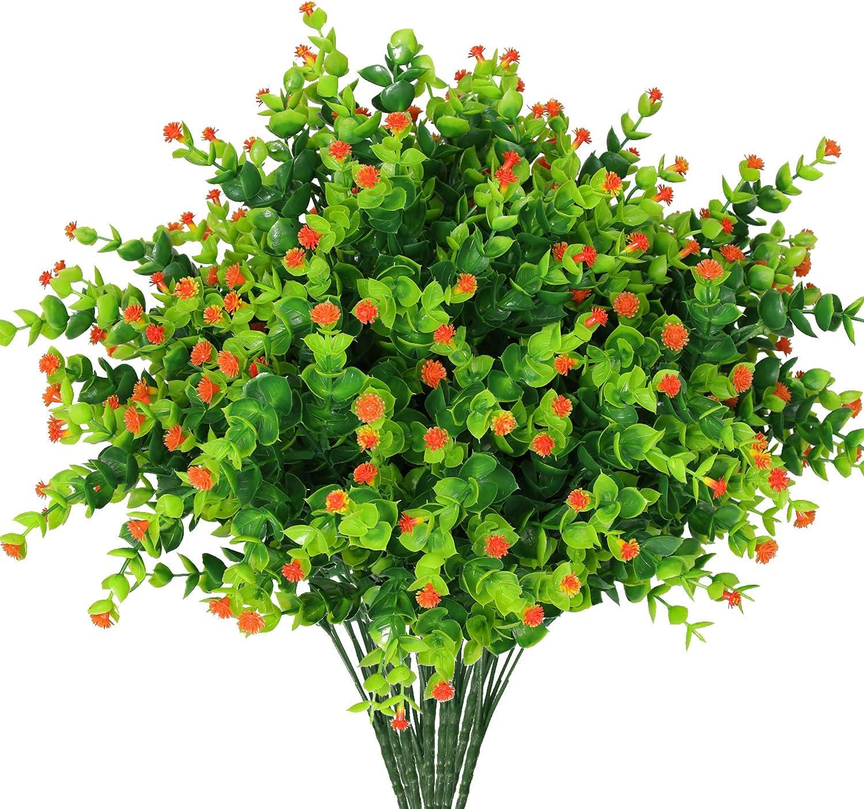 Edvision 9 Bundles Artificial Flowers, Outdoor UV Resistant Fake Flowers No Fade Artificial Plants for Indoor Outside Hanging Planter Window Box Garden Porch Patio Yard Home Wedding Decor (Orange)