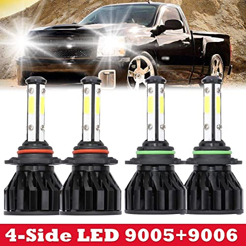 popular For Chevy outlet online sale Silverado 1500 (1999-2006) Headlight Bulbs LED 9005 HB3 + 9006 HB4 High Low Beam Combo Kit 12000LM with 4-Side Chips 360 Degree Lighting online Extremely Bright, 5 Year Warranty outlet online sale