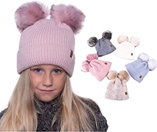 Candygirls Norweger 2 gro/ße Bommel Glitzer Winter M/ütze Schleife gef/üttert Strass Fell 130P