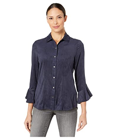 Liverpool Button Front Flounce Sleeve Shirt in Microsuede (Oxford) Women
