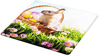 Lunarable Easter Cutting Board, Basket with Eggs and a Easter Bunny Rabbit in the Grass with Pink Flowers Field, Decorative Tempered Glass Cutting and Serving Board, Small Size, Pink Green