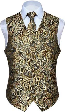 HISDERN Suit Vest for Men Satin Waistcoat + Tie + Pocket Chief 3PCS Set Formal Slim Fit Premium Business Mens Dress Suit Button Down Vests