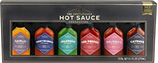 Thoughtfully Gifts, The Gentlemans Hot Sauce Collection, 1.5 Fluid Ounces Each, 6 Delicious Flavors Including Smoky Bourbon, Garlic, Jalapeno, Bourbon and More, Set of 6