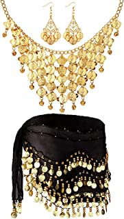 Hicarer 3 Sets Women's Belly Dance Accessories, Gold Coins Belly Dance Hip Skirt Scarf Wrap Belt, Gold Coins Necklace and ...
