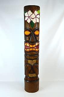 Hand Carved Wood Beautiful 3 FT Hibiscus Plumeria Flower Tiki Totem Pole Statue
