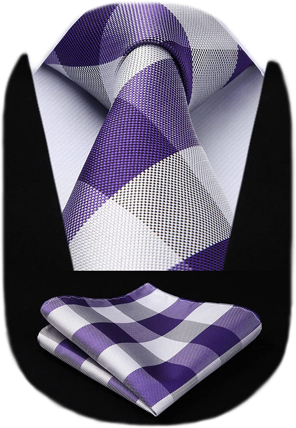 HISDERN Shipping included Plaid Checkered Tie Handkerchief Woven Classic Nec Men's New product!!