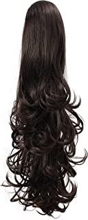 """OneDor 20"""" Curly Synthetic Clip In Claw Drawstring Ponytail Hair Extension Synthetic Hairpiece 190g with a jaw/claw clip (4#-Dark Brown)"""