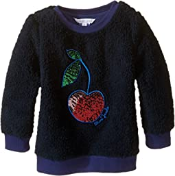 Little Marc Jacobs - Faux Fur with Sequined Cherry Pattern Sweatshirt (Toddler/Little Kids)