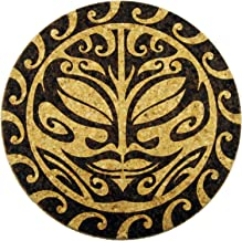 XL Coasters Tribal Pacific Sun (6 Inch, Set of 2) – Oversized cork absorbent drink coasters