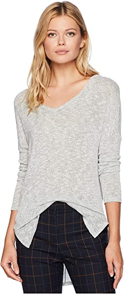 Long Sleeve Knit V-Neck Cut Out