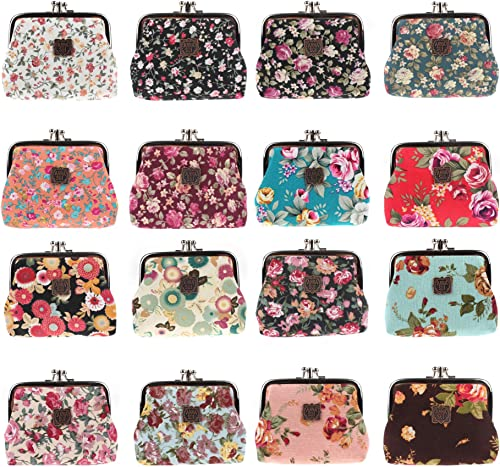 Random Prints Color Cute Canvas Classic Floral Exquisite Buckle Hasp Clasp Closure small Coin Purse Pouch wallet For Earphone Earphones Coin Coins Credit debit Card Money cash Jewellery Memory card Pendrive Organiser Pouch case box wallet purse