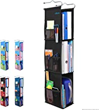 3 Shelf Hanging Locker Organizer for School, Gym, Work, Storage - Upgraded | Abra Company | Eco-Friendly Fabric Healthy for Children | Adjustable School Locker Shelf from 3 to 2 Shelves (Pure Black)