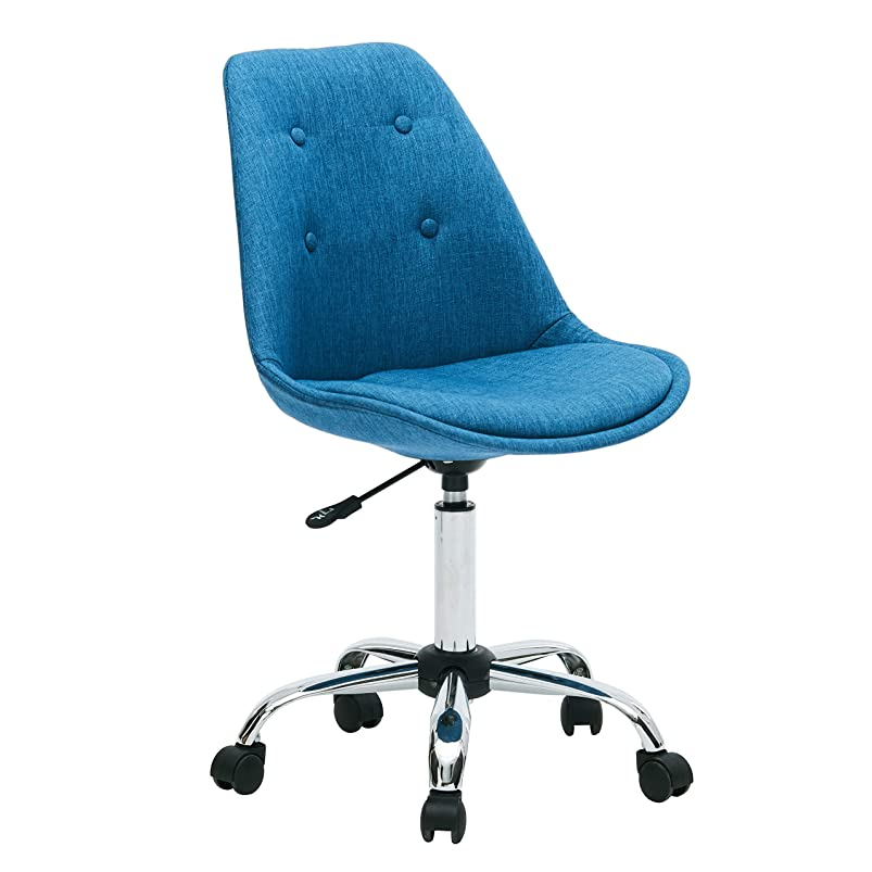 Porthos Home LVC018A BLU Caster Wheels, Height Adjustable, Chrome Metal Base for Leisure, Seating or a Casual Gaming Office Chairs Size 32-36x19x22 inch, Choice of Colors, One, Blue puihwavj253471