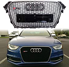 FidgetKute for 13-16 Audi A4 S4 B8.5 RS4 Front Upper Grill Sport Honeycomb Mesh Silver Ring