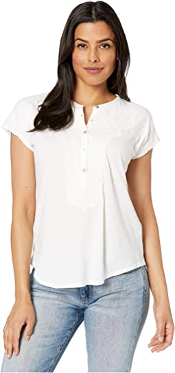 Washed Applique Henley Top