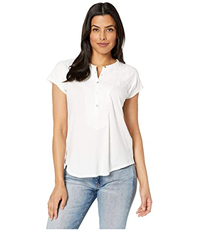 Lucky Brand Washed Applique Henley Top (Lucky White) Women
