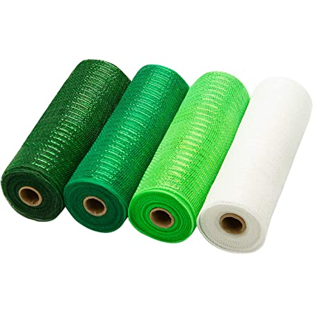 Swags and Decorating 10 inch x 30 feet Each Roll 4 Pack Metallic Foil Green and White Rolls for Wreaths LaRibbons Deco Poly Mesh Ribbon