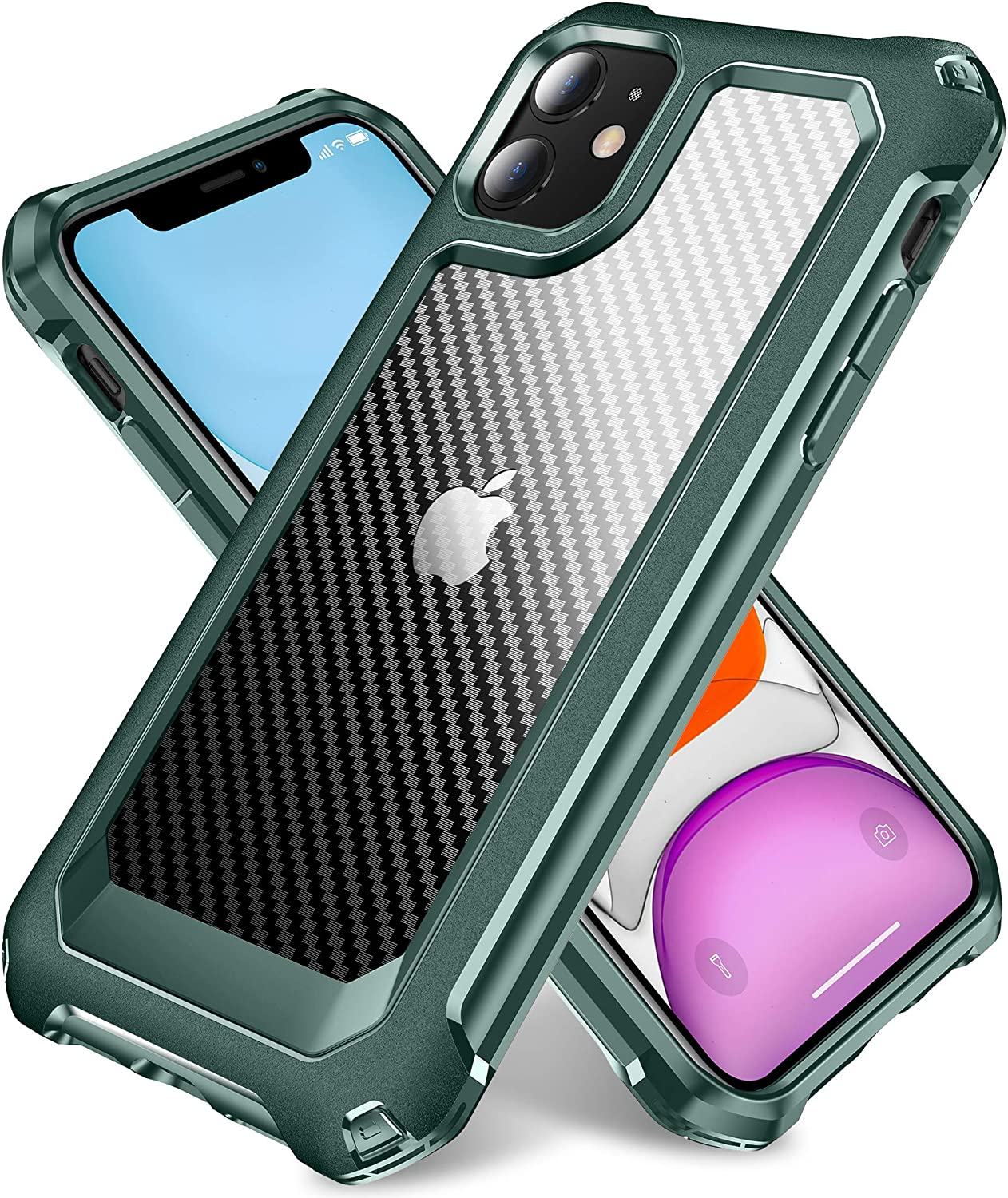 iPhone 11 Case, SUPBEC Slim Carbon Fiber Shockproof Protective Cover with Screen Protector [x2] [Military Grade Drop Protection] [Anti Scratch & Fingerprint], Phone Cases for iPhone 11, 6.1