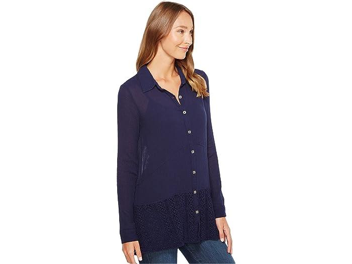 Mod-o-doc Gauze Button Front Shirt With Lace Trim