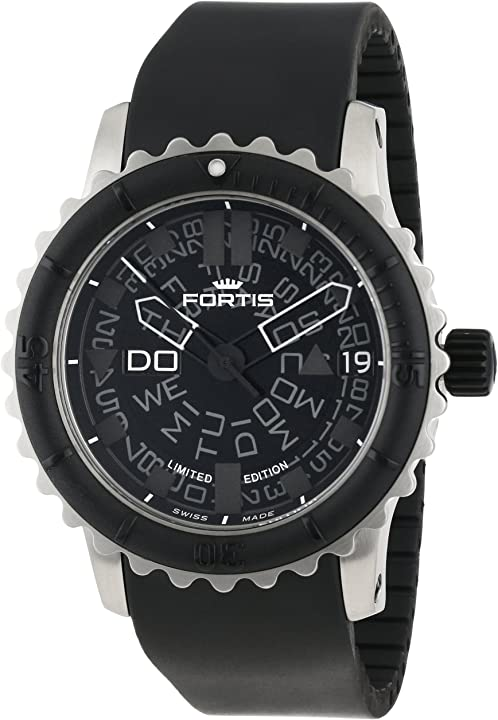 Orologio fortis da uomo 675.10.81 k b-47, con lunetta girevole automatica, in gomma, colore: nero