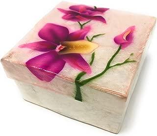 Kubla Craft Purple Orchid Capiz Shell Keepsake Box, 3 Inches Square