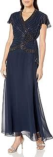 J Kara Women's Petite Short Flutter Sleeve V-Neck Long Beaded Dress