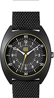 Roue HDS One Men's Watch, 1980s German Industrial Design, 41.5mm Sand Blasted Stainless Steel case, Silicone + Nylon Front/Leather Back Straps, Sapphire Crystal with Anti-Reflective Treatment Glass
