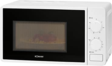 Bomann MWG 6015 CB - Microondas con grill (700 W, 800 W de potencia, temporizador de 30 minutos con señal de finalización, iluminación para el hogar), color blanco