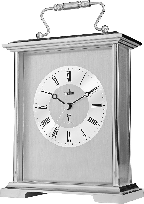 Acctim Silver Finish Radio Controlled Quartz Battery Mantle Mantel Clock Althorp 77157
