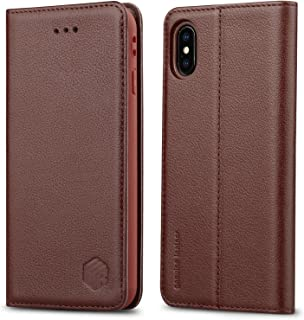 WenBelle Genuine Leather Wallet Case for iPhone Xs (2018) / iPhone X (2017)[Magnetic Closure] Flip Book Design Stand Folio Protective Cover Case for Apple iPhone Xs/X/10 5.8 inch (Brown)